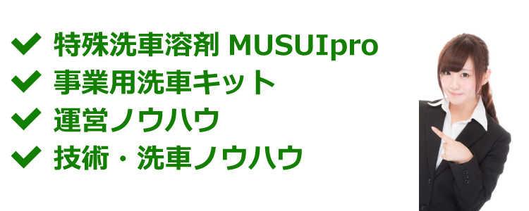 MUSUIpro・事業用洗車キット・運営ノウハウ・技術洗車ノウハウ